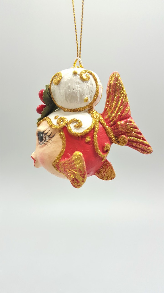 Mrs Clause Kissing Fish Christmas Ornament