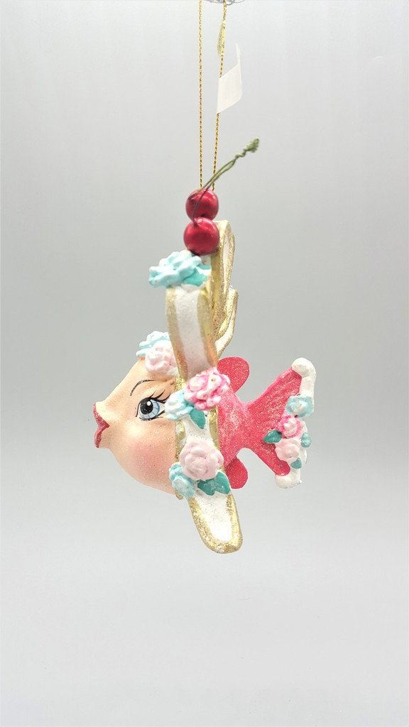 Cherry Bow Kissing Fish Tree Ornament