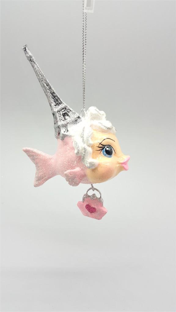 Kissing Fish Eiffel Tower Christmas Decoration