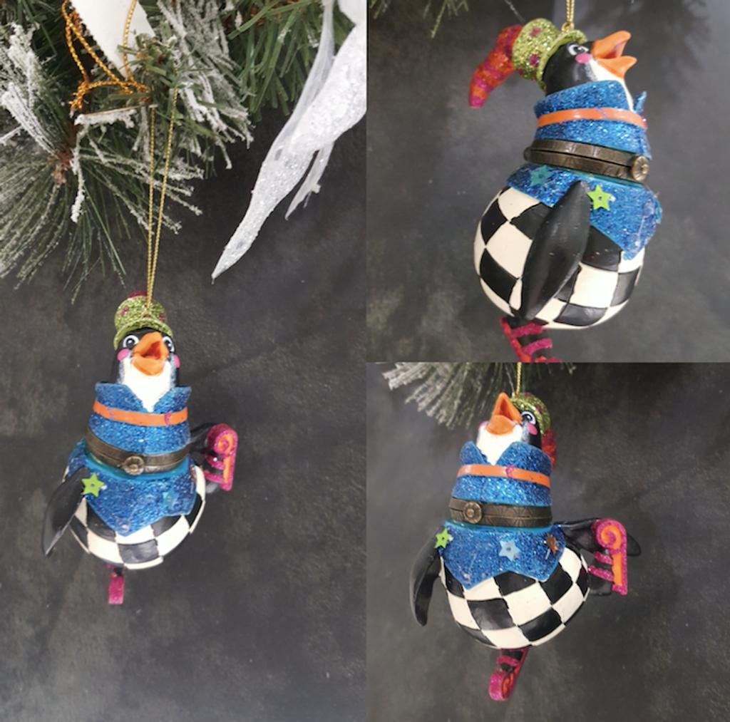 Penguin Christmas Tree Trinket Box Ornament