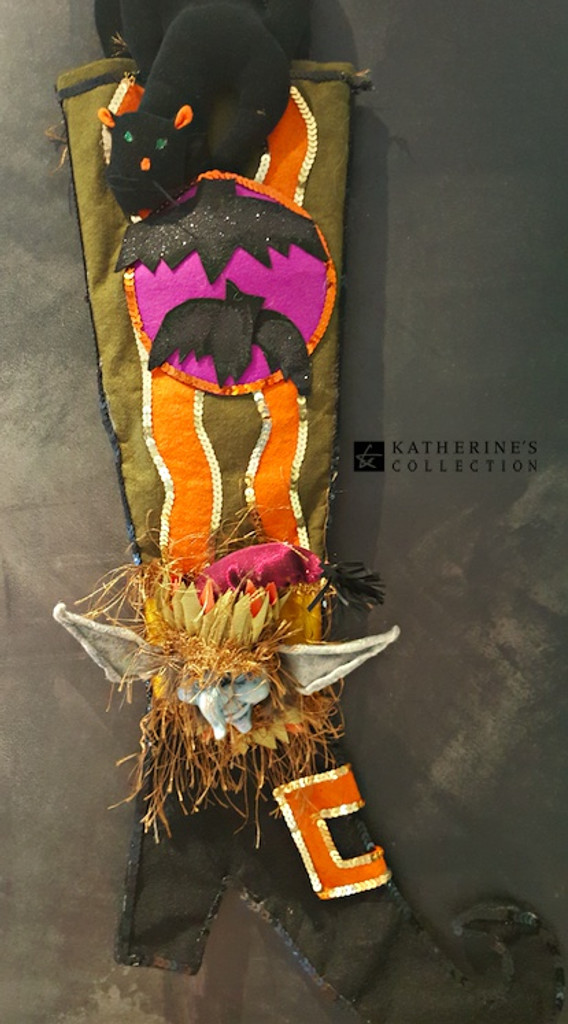Katherine's Collection Green Halloween Stocking