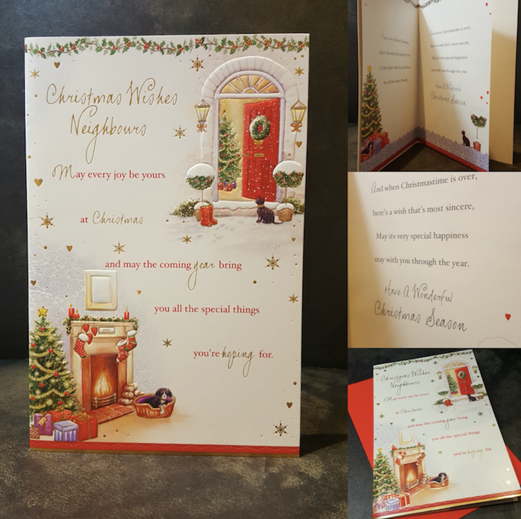 Neighbours Christmas Card Full Colour Insert and Embossed Detail