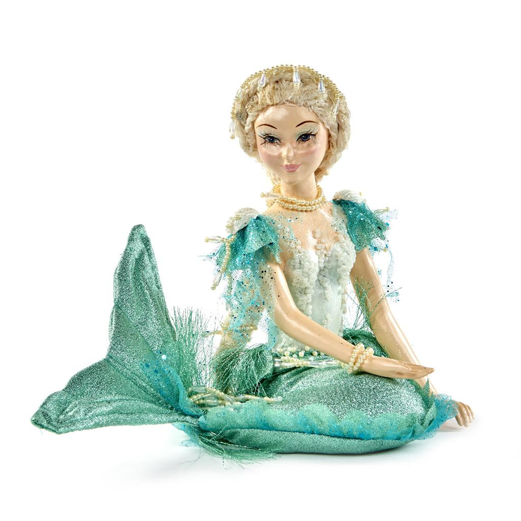 Stunning Sitting Down Mermaid Doll Display Shimmer Materials and Pearl Beaded Trims.