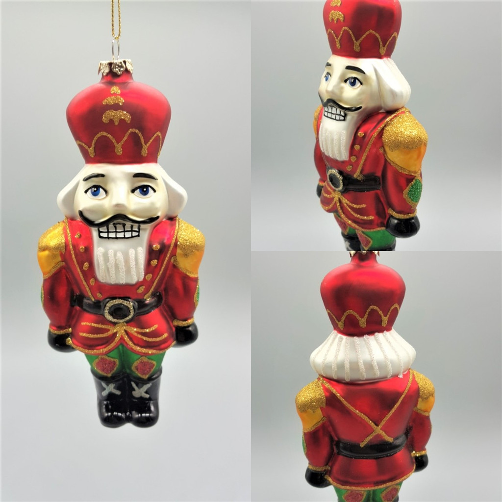 Katherine's Collection 2018 Handmade and hand painted Glass Nutcracker Christmas Tree Ornament