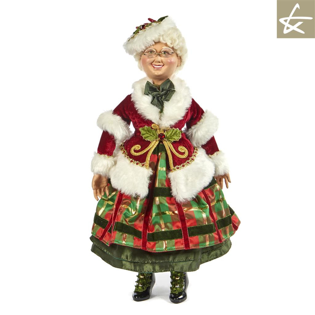 Mrs Clause Tartan Traditions Collectable doll display, handmade and hand painted with lavish detail.