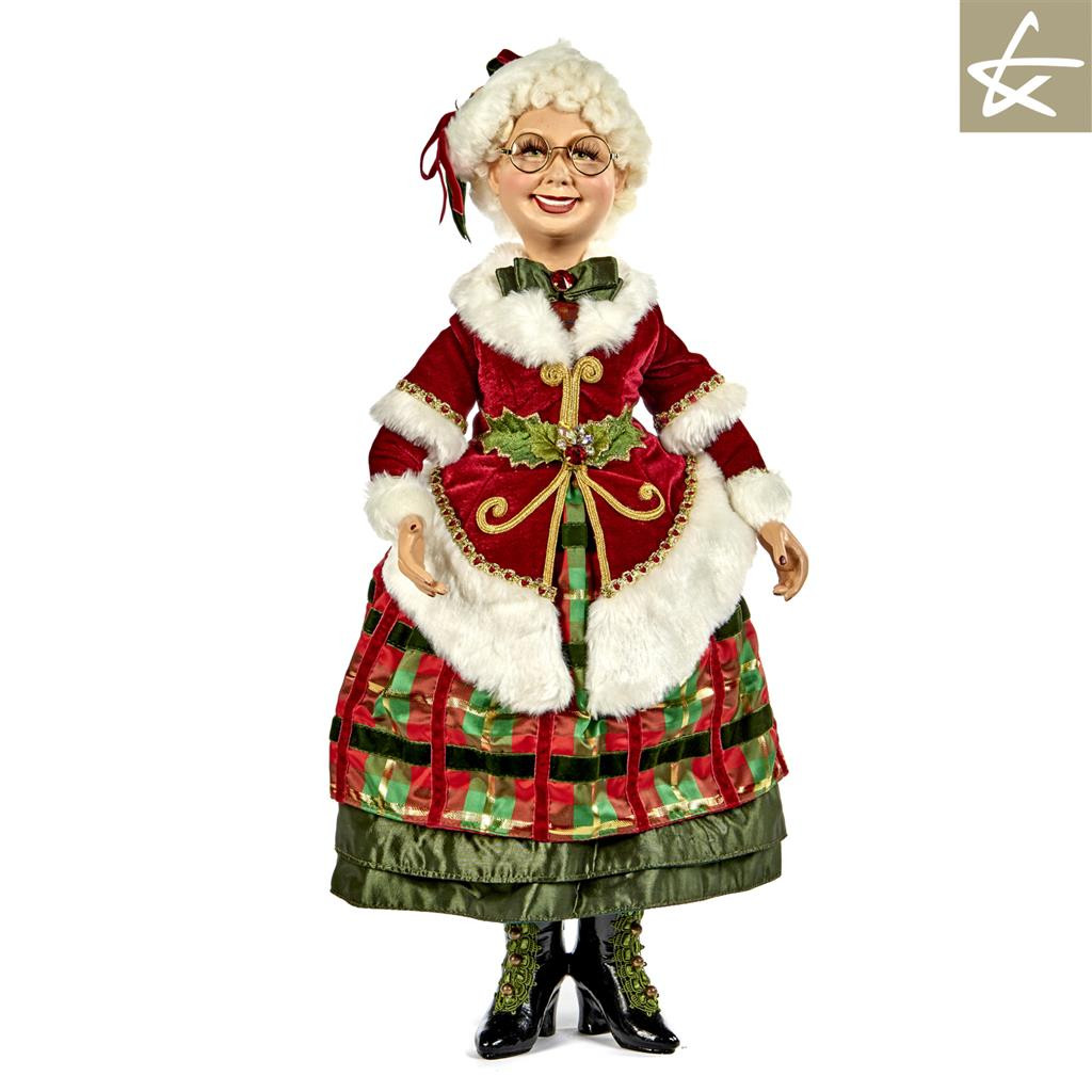Katherines Collection Mrs Clause 63,5 cm Doll Display, Handmade Lavish Materials and Trims.