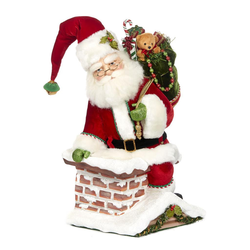 Night Before Christmas Santa Climbing Chimney Display Doll