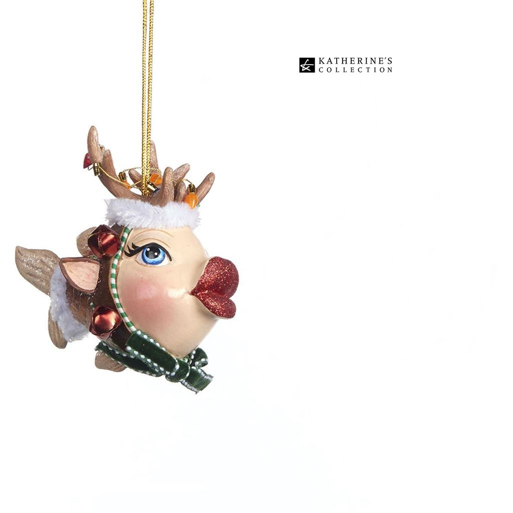 Katherine's Collection Reindeer kissing fish is a fun display this season size 10cm