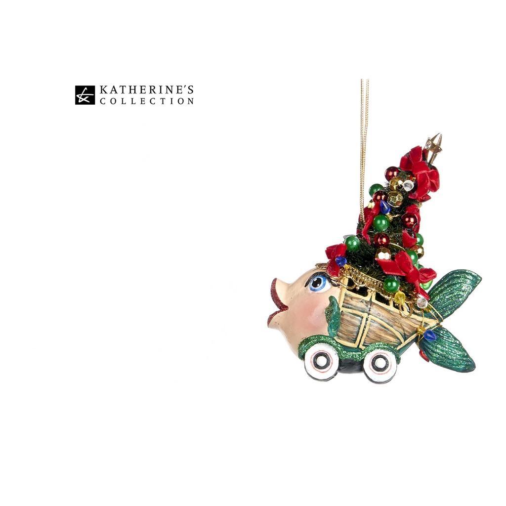 Coming Home Xmas Car Kissing Fish Christmas Tree Ornament 10CM