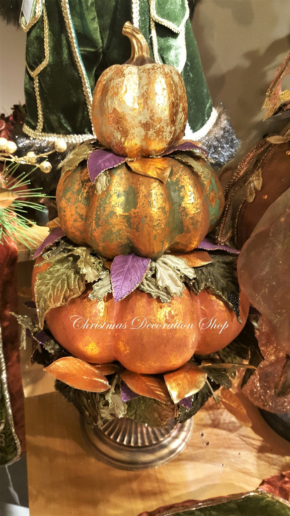 Katherine's Collection 2018 Pumpkin Stack In Pot Display