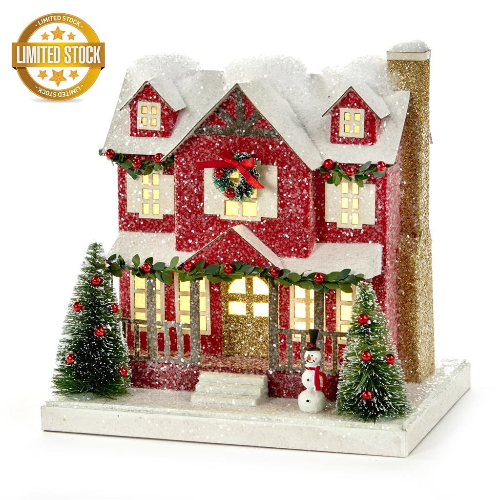 Beautiful LED Lit Christmas House Display 35,5CM batt.op.