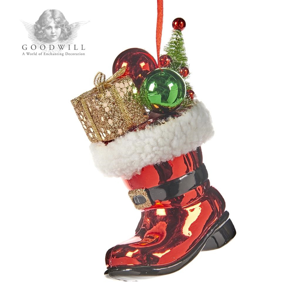 Santa's Home Christmas Tree Glass Ornament Boot
