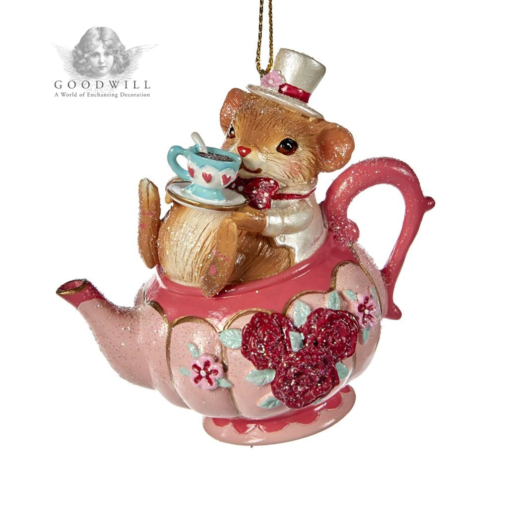 MOUSE IN TEAPOT ORN PNK 9CM