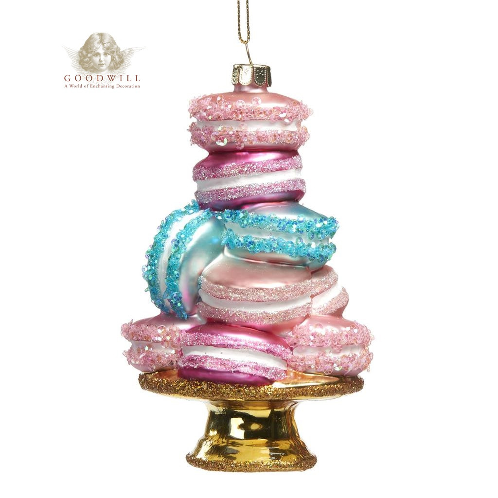 GLSS MACARON STACK ON STAND ORN PNK 14CM