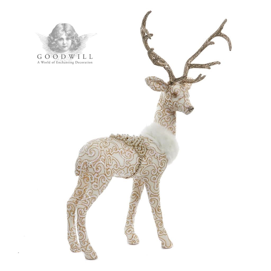 BEJEWELED STAND.DEER W/SADDLE TT CRM 56CM