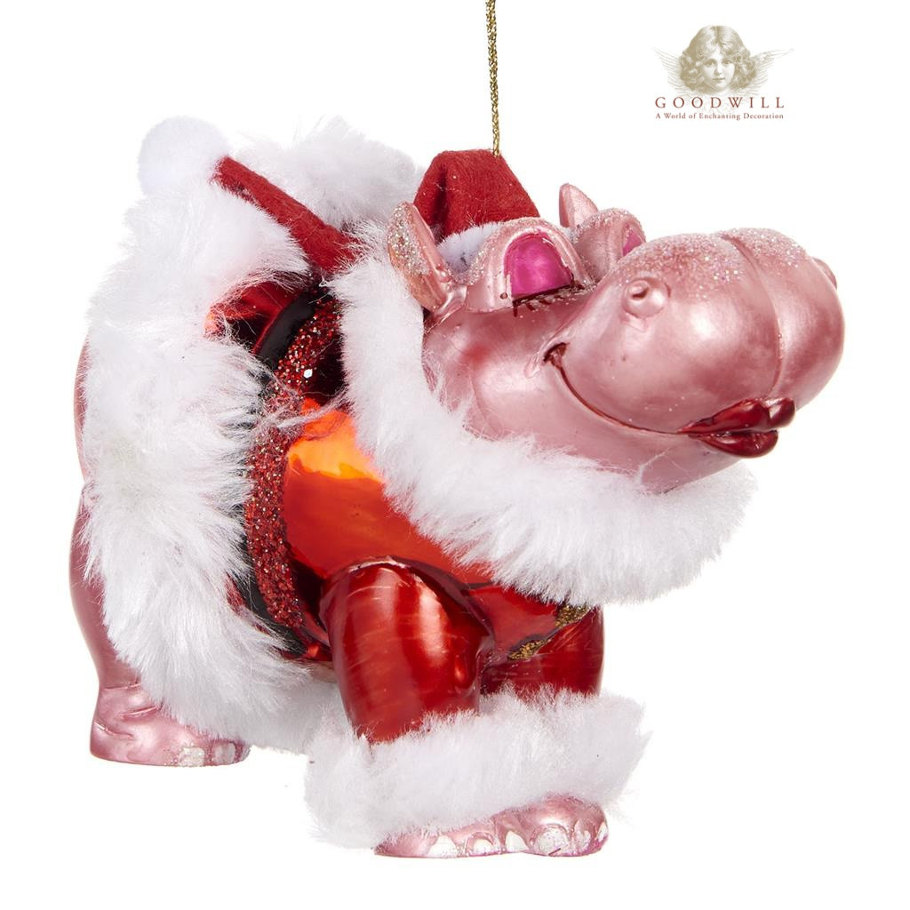 Hippo Christmas Ornament.Goodwill 2019 Glass Kissing Hippo Decoration