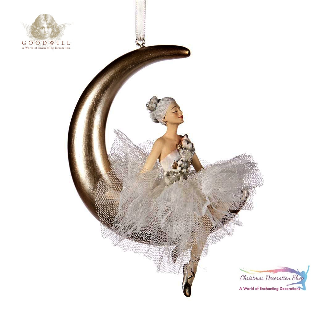 TULLE BALLERINA ON MOON ORN 13CM