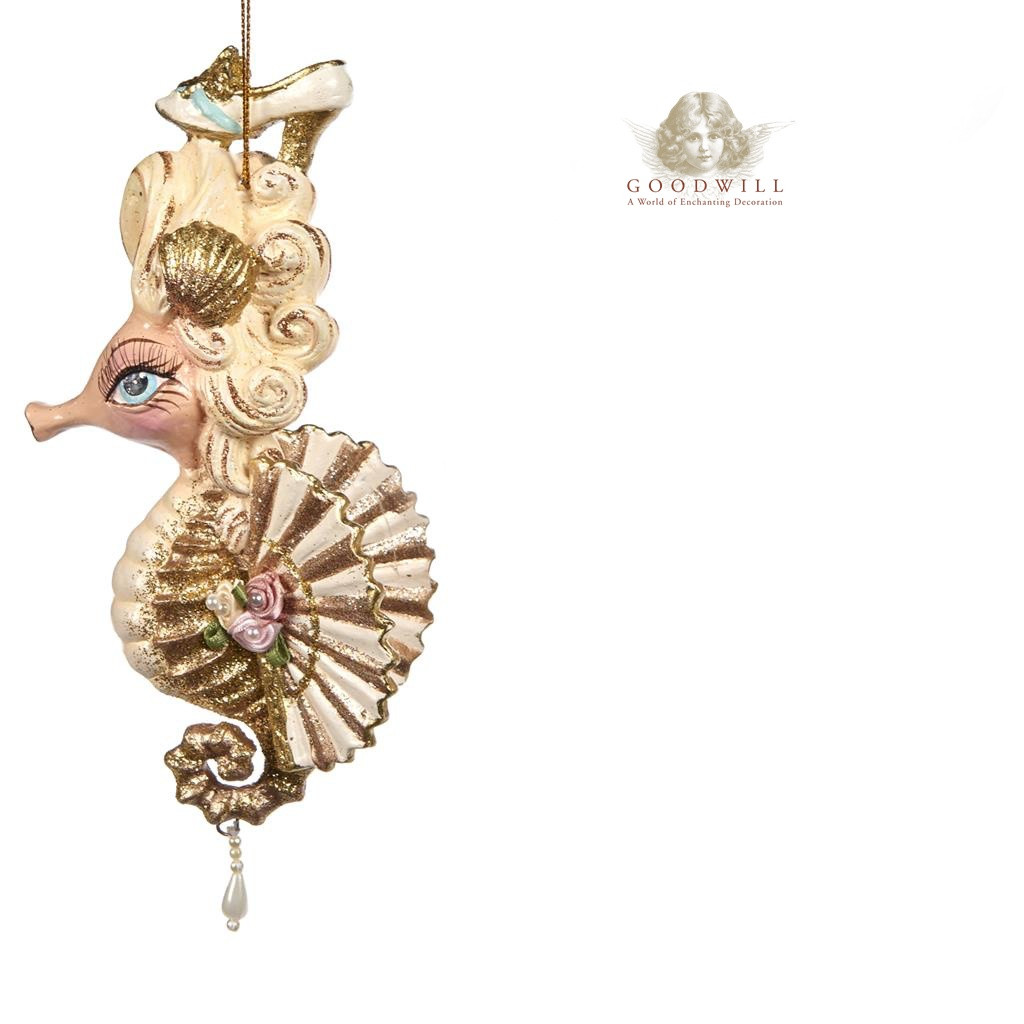 MARIE ANT.SEAHORSE ORN GLD/CRM 16,5CM