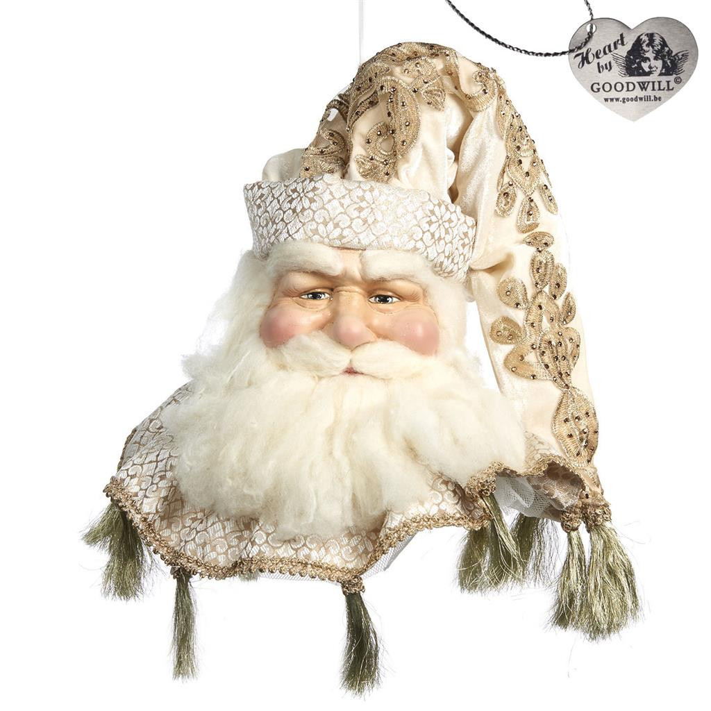 JOURNEY SANTA HEAD ORN CRM/GLD 25CM