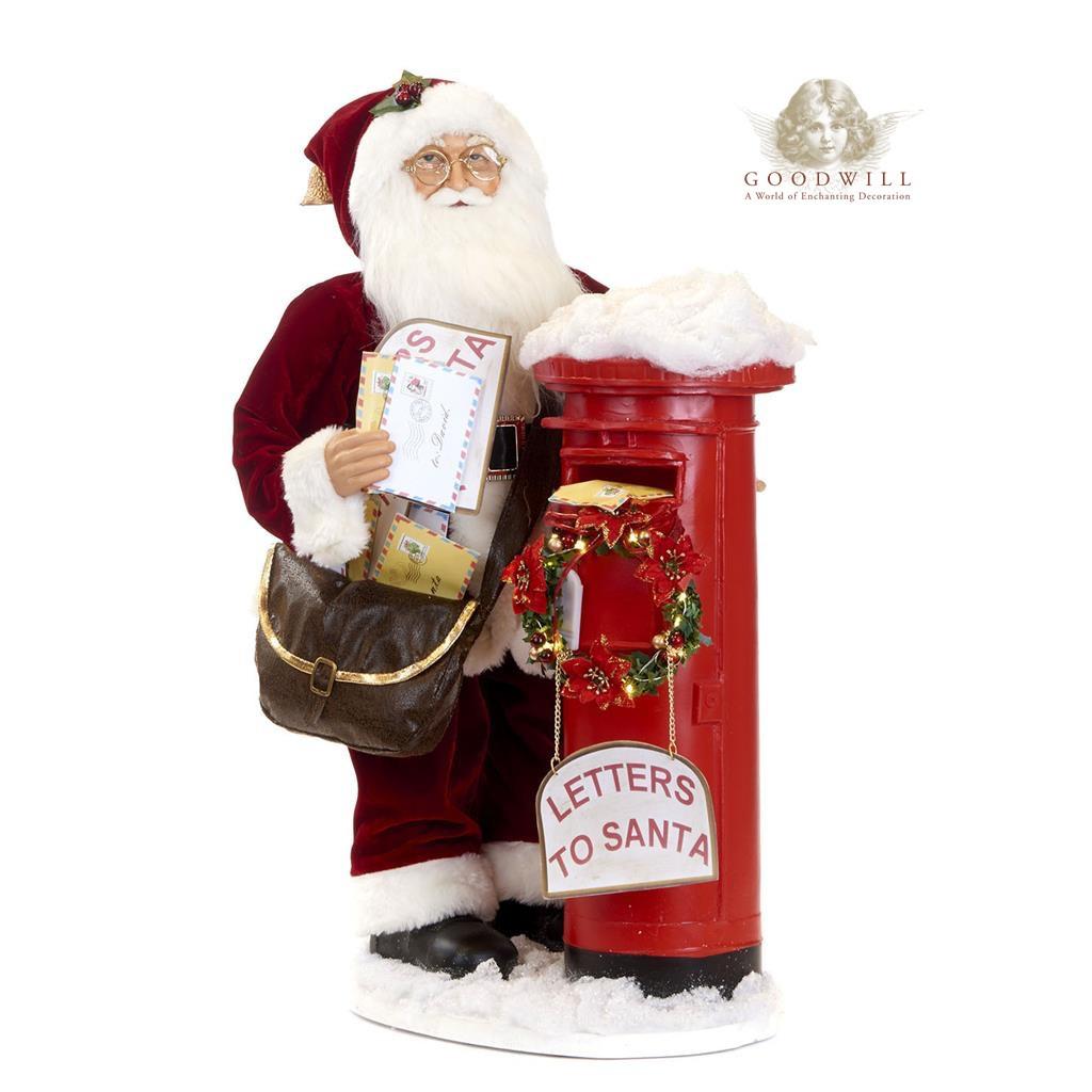 Santa With Mailbox TT RD/WH 63CM
