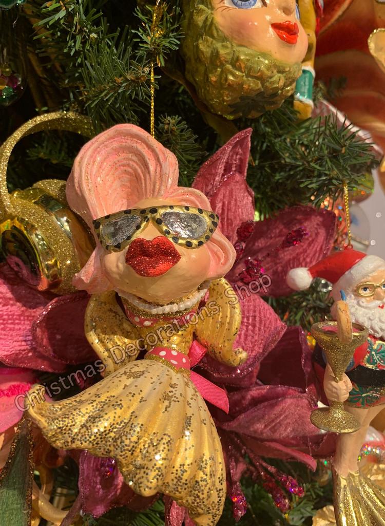 Christmas Tree Ornament Pool Side Diva Kissing Fish