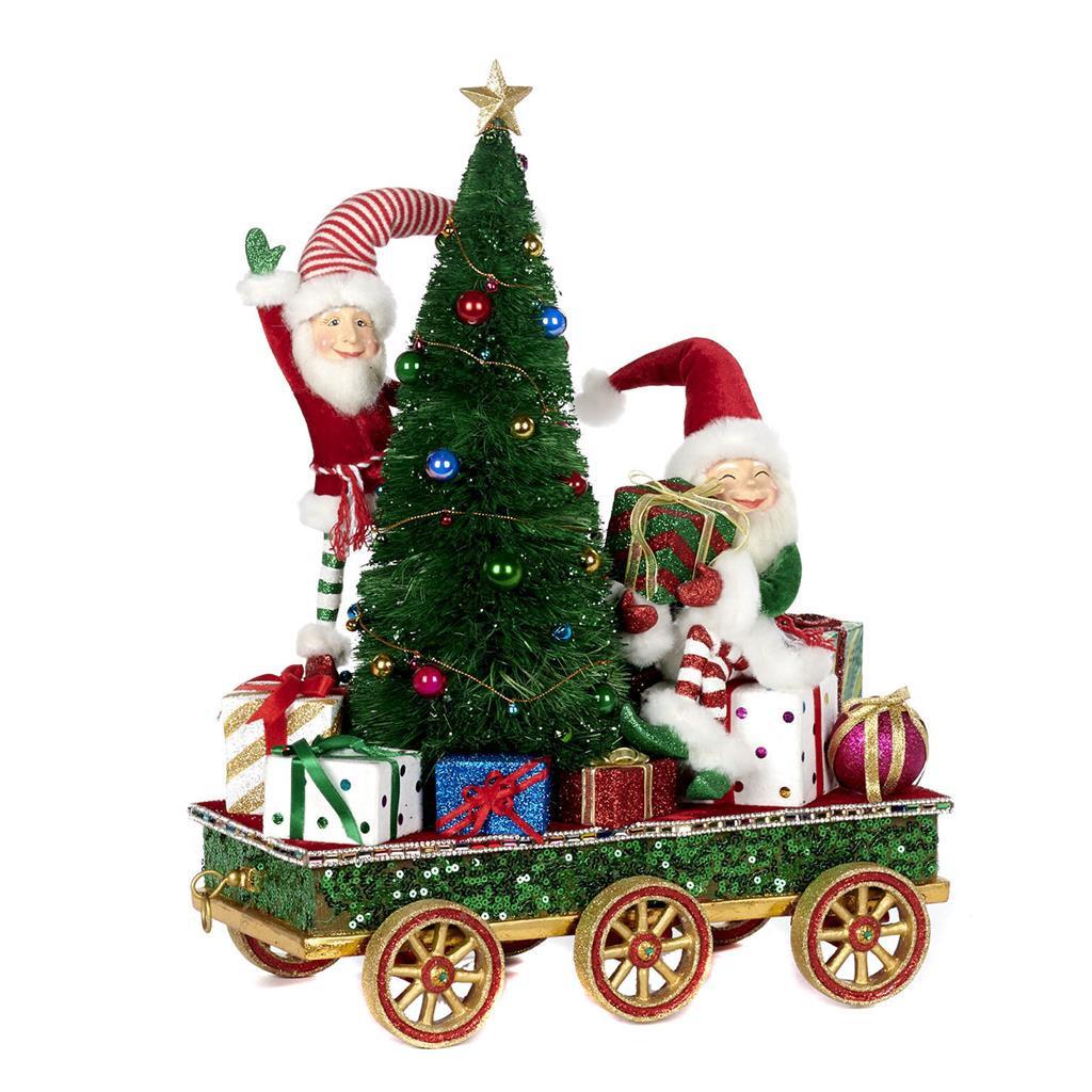 ELVES W/TREE ON TRAIN CART TT RD/GRN 44CM