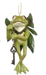 FOREST FAIRY FROG ORN GRN 10CM