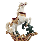 VELV.ROCKING HORSE W/SADDLE TT CRM/BURG 38CM