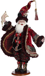 CHRISTMAS CAROL SANTA BURG/BLK 58CM