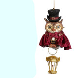 XMAS CAROL BOY/ OWL ORN / BURG/GRN 10CM