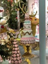 Goodwill 2021 Macaron Cone Tree On Stand PNK/GLD 55,5CM