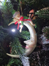 Christmas Elf On Moon ChristmasTree Decoration Display