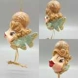Cinderella Kissing Fish Christmas tree decorations display, handmade and hand painted with glitter kissing lips.