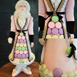 Lavish Macaroon Santa Doll Display, Dressed In Velvet With Stunning Detail Exclusive Collection.