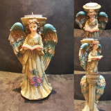 Angel Candle Holder Display Ornament, Hand Painted Angel Will Dress Any Home This Season.