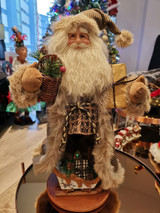 Woodland Santa Doll Display With Gifts & Sledge