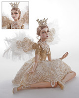 Royal White Christmas Ballerina Sitting Doll with stunning attention to detail and sparkling crystal detail.