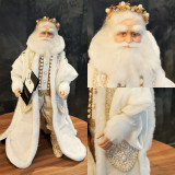Royal White Christmas Santa Doll 18cm, Beautifully hand made with hand painted detail and lavish materials and crystal detail