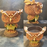 Woodland Owl Vase bowl Table Display, Handmade With Material Detail.
