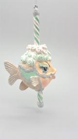 Carousel Peppermint Kissing Fish Christmas Ornament