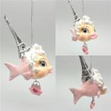 Eiffel Tower Kissing Fish Christmas Tree Ornament
