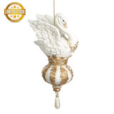 Beautiful Large Swan Christmas Tree Display Ornament, Hand Painted CRM/GLD 14CM