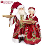 MR/MRS SANTA CLAUS W/TRAY TT RD/GRN/WH 73,5CM
