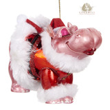Goodwill Glass Kissing Hippo Tree Ornament 12cm