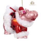 Goodwill Glass Kissing Hippo Tree Ornament 12cm