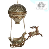 HOT AIR BALLOON SLEIGH W/DEER ORN CHAMP/CRM 50CM