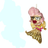 POOL P.BIKINI DIVA LADY FISH ORN GLD 15CM