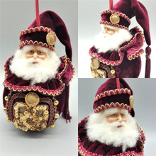 Katherine's Collection Large Santa Bauble Tree Decoration Lavish Detail.