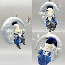 Azure Santa Moon Christmas Decoration, Sparlking moon with Santa holding sliver stars