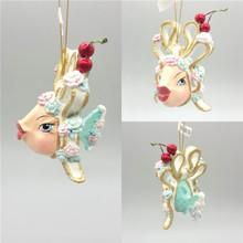 Cherry Bow Kissing Fish Christmas Tree Ornament
